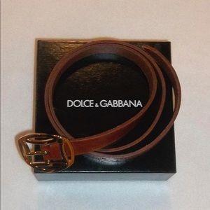 21c67903a1b DOLCE   GABBANA Dark Tan Leather Belt Gold Buckle
